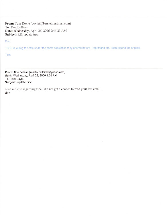 April 2006 email from Doyle referencing TSPC's continuing offer of reprimand to sign stipulations