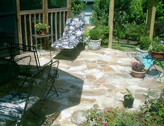 This Is The Outside Portion Of The Patio That I Built. The Inside Flagstone  Overlay And The Outside Flagstone Patio Are Really Both One Continuation.
