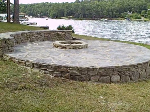 Fire On The Water: Fire Pit, Flagstone Patio And Sitting Wall On Lake Martin