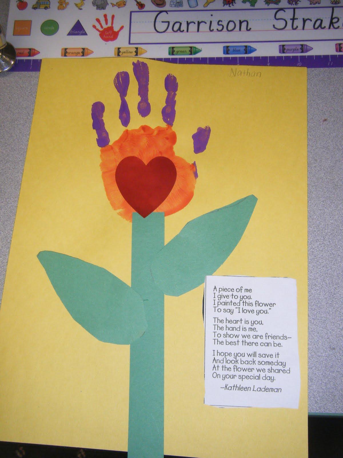 kindergarten times handprint pillow case and mother s day card