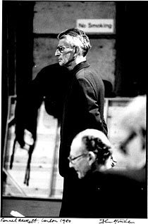 Samuel Beckett directs rehearsals for 'Endgame' in London, 1980. Photograph by John Haynes.