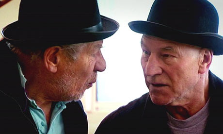 Not amused... Patrick Stewart and Ian McKellen in rehearsal for Waiting for Godot, screengrab from BBC2's Culture Show Photograph: BBC