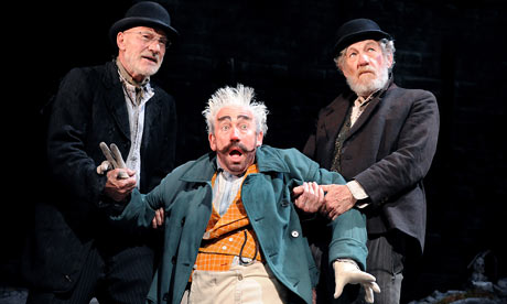 Patrick Stewart as Vladimir, Simon Callow as Pozzo and Ian McKellen as Estragon in Waiting for Godot at London's Theatre Royal Haymarket. Photograph: Tristram Kenton