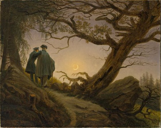 Caspar David Friedrich, 'Two Men Contemplating the Moon 1819-20'