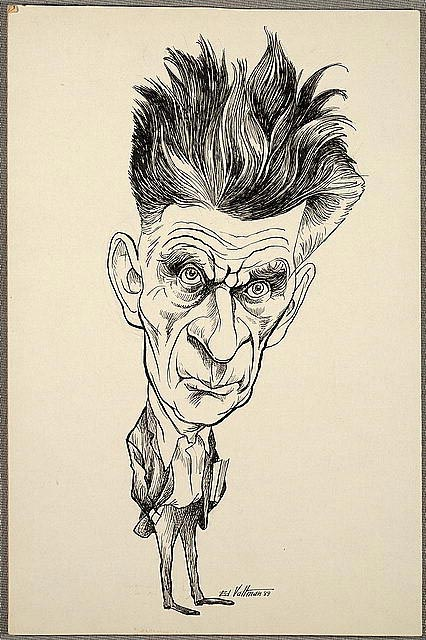 Samuel Beckett, 1969. Ink on board. Artist: Edmund Valtman. Image courtesy of J. Arthur Wood, Jr.