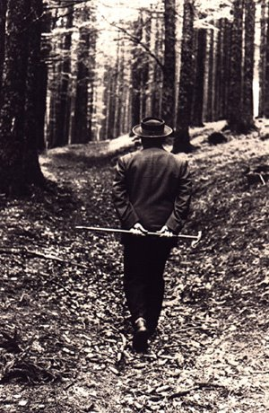 Martin Heidegger walking in the woods
