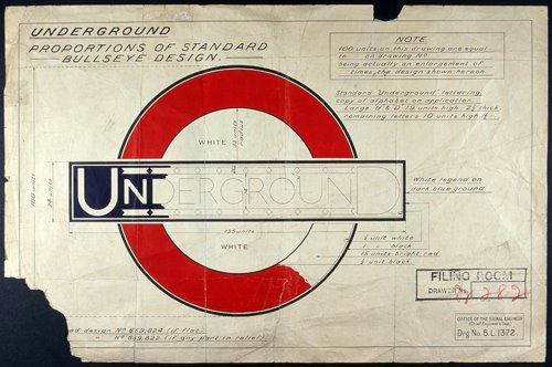 Part of a drawing by Edward Johnston of the iconic London Underground roundel and bar, known as the 'bullseye design'