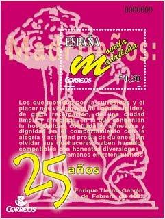 Sello conmemorativo de los 25 años de la Movida