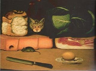 Naturaleza muerta con gato y ratón