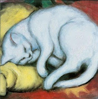 Franz Marc, Cat on a yellow pillow, 1912