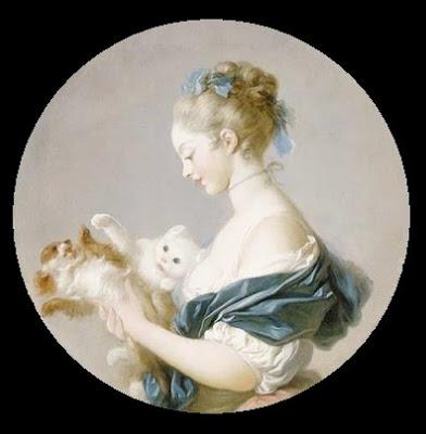 Fragonard_Chica jugando con un perro y un gato_Retrato de Marie-Madeleine Colombe