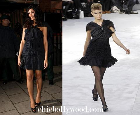 Freida Pinto Pre BAFTA Awards Nominees Party Black Dress Chanel Couture Spring 2008