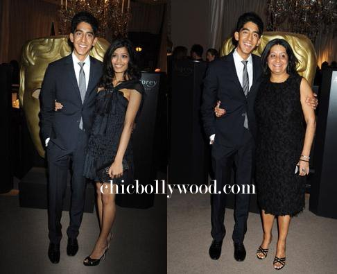 Dev Patel Freida Pinto Pre BAFTA Nominees party mother