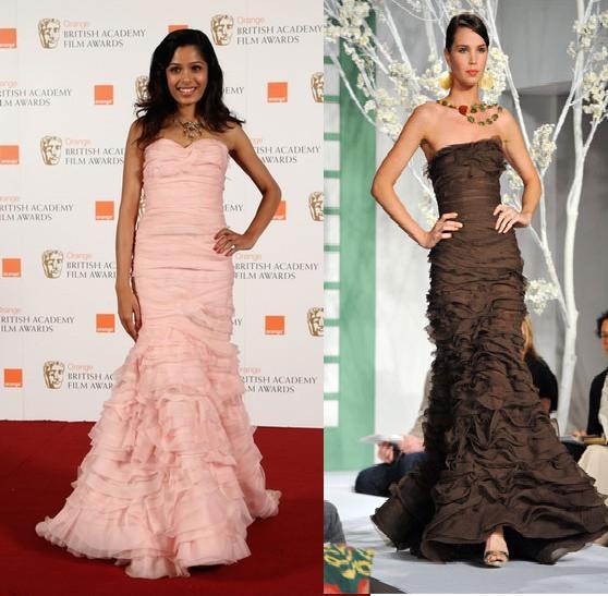 Freida Pinto BAFTA 09 British Academy Film Awards Oscar de la Renta pink gown Resort 09 collection