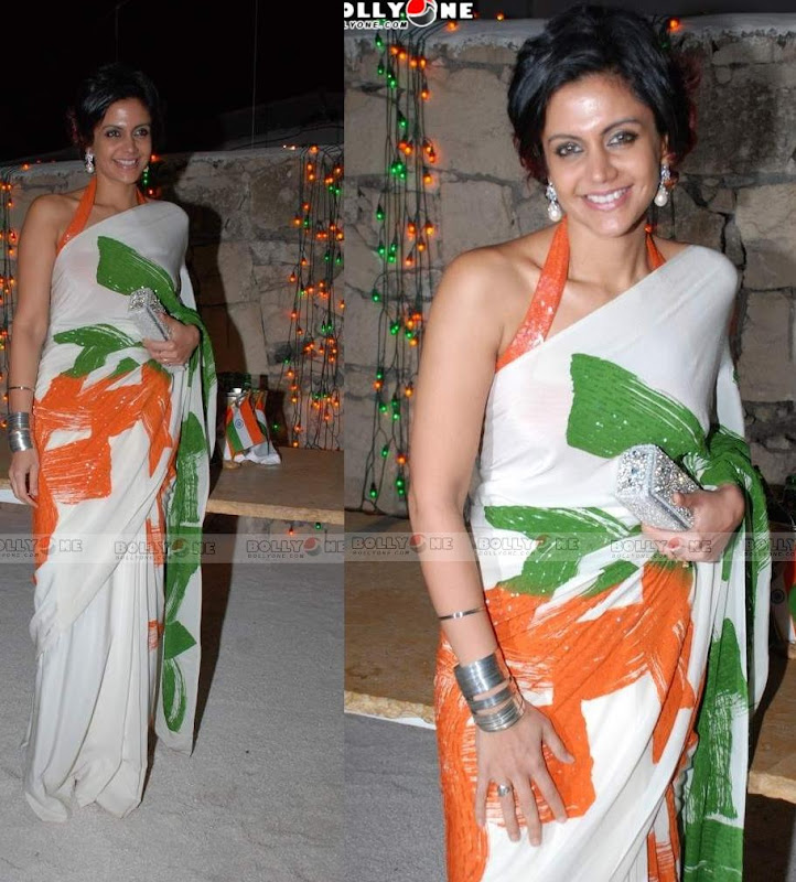 Mandira Bedi Tri colour India flag sari saree