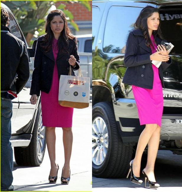 Freida Pinto purple dress Slumdog millionaire Beverley Hills