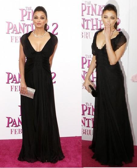 Aishwarya Rai black gown pink panther New York premiere Alberta Ferretti