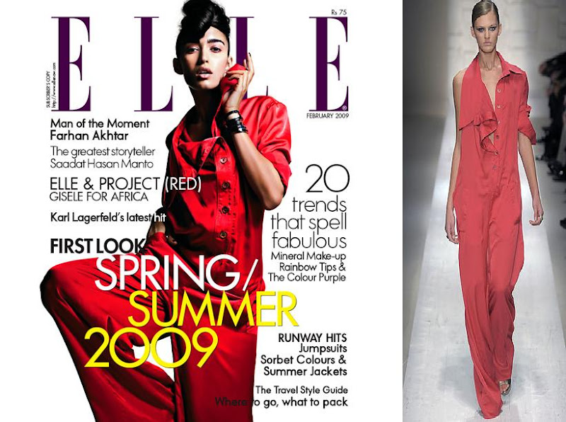 Elle India Feb February Cover 09 Tamara Moss Salvatore Ferragamo jumsuit