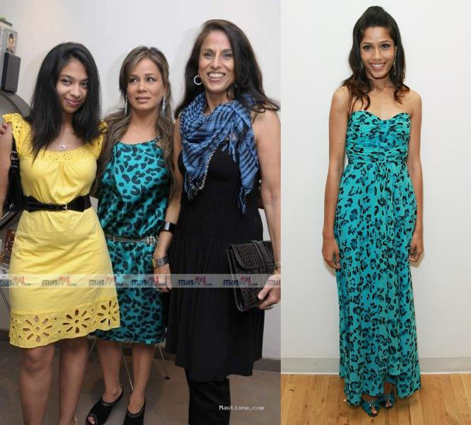 Raih spa launch Freida Pinto Shobha De Nanette Leopore aqua cheetah dress jimmy choo booties