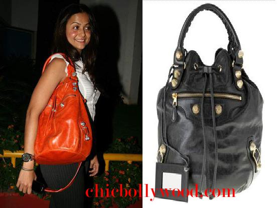Amrita Arora Balenciaga pom pom bag Farah Khan party