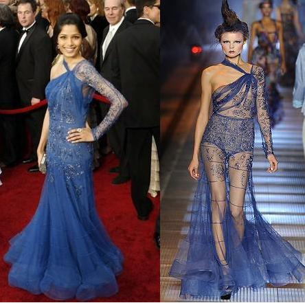 Freida Pinto John Galliano gown Jimmy Choo sandals Oscars Red carpet