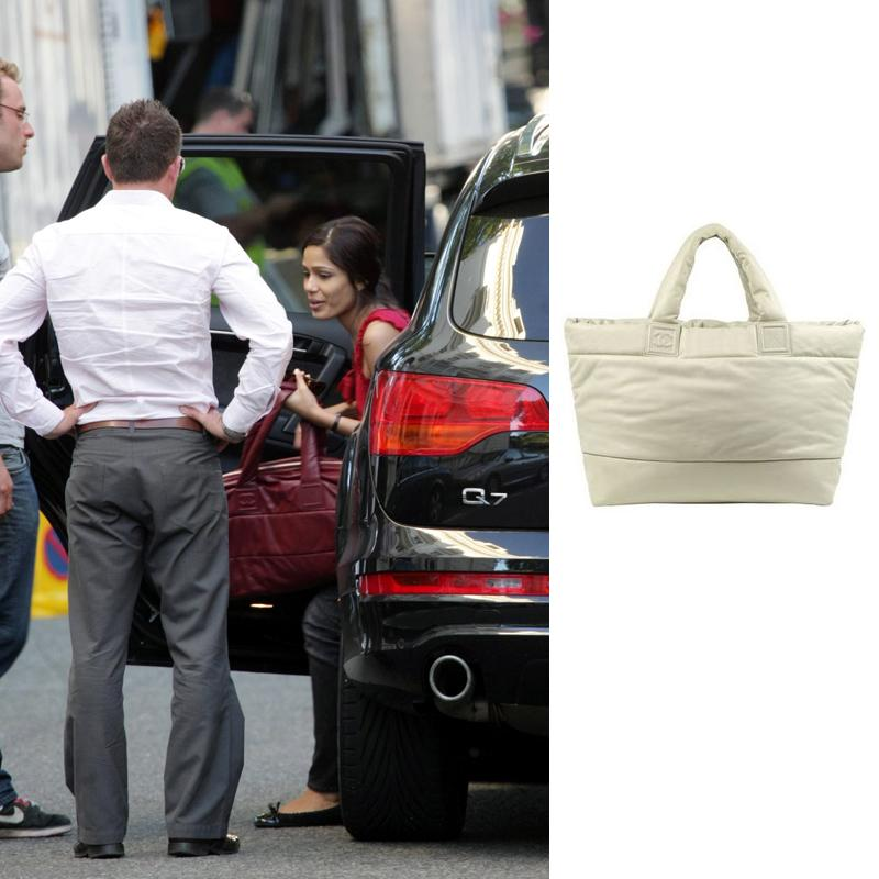 Freida Pinto Chanel bag Woody Allen movie sets