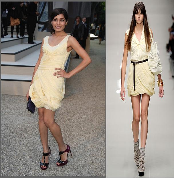 Freida Pinto Burberry Prorsum dress London Fashion Week