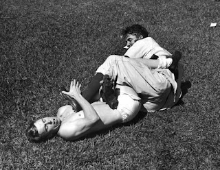 Fitzsimmons rasslin' with Pee Wee Reese in Cuba, 1942