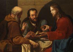 Cristo con los discípulos de Emaus. Pintura anónima siglo XVII