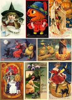 Винтажные викторианской эпохи открытки и картинки в теме Halloween'а