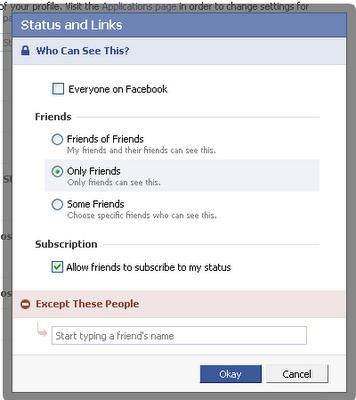 facebook status setting
