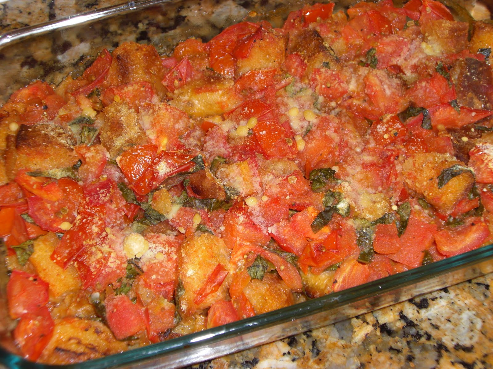Vegan Niche: MoFo 7: Basil Scalloped Tomatoes and Croutons