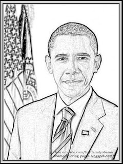 a presidential official full page coloring photo page of president barack obama to print for free
