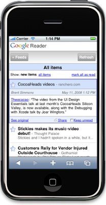 Reader on the iPhone