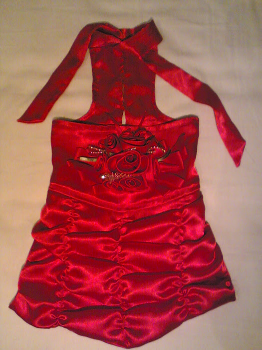 Red Satin Flowers Dress