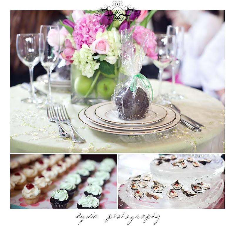 Table decor, cupcakes, and oysters at the Santa Rosa Wedding Expo