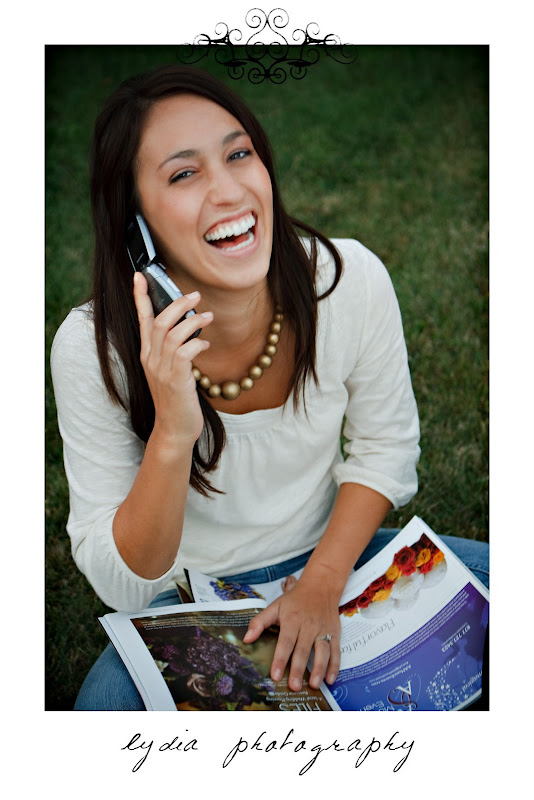 Bride laughing at the phone at lifestyle engagement portraits in Grass Valley, California