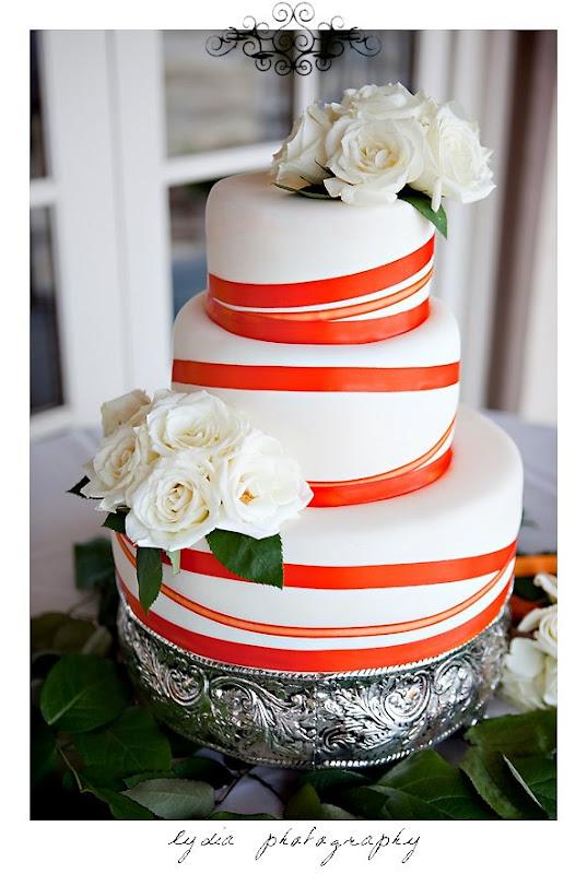 Wedding cake at modern, citrus, backyard wedding at Pine Ranch in California
