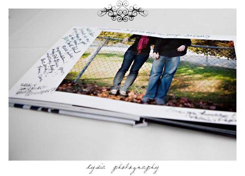 Guest book at modern, citrus, backyard wedding at Pine Ranch in California