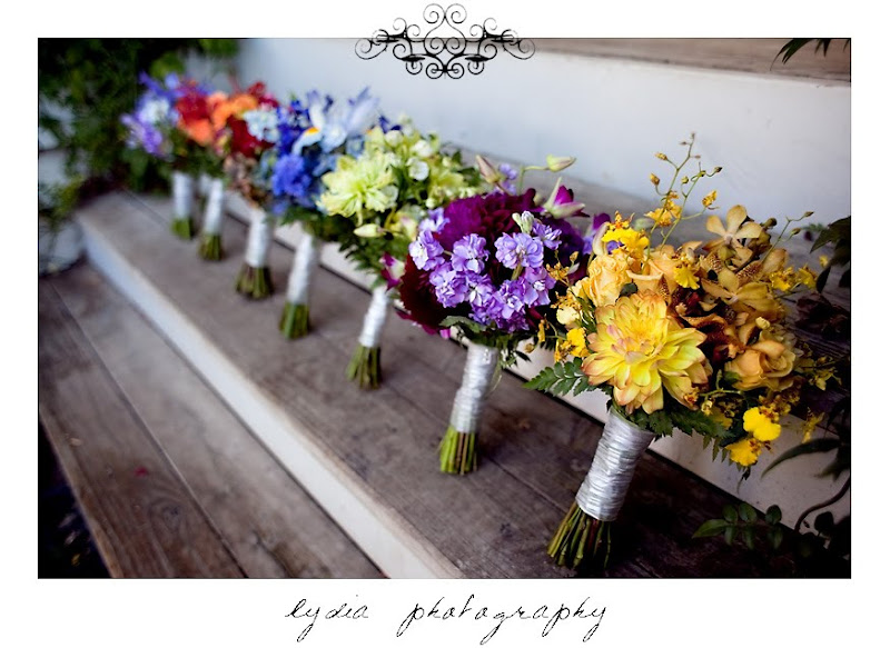 Picture of the bridesmaids' bouquets in Santa Rosa California