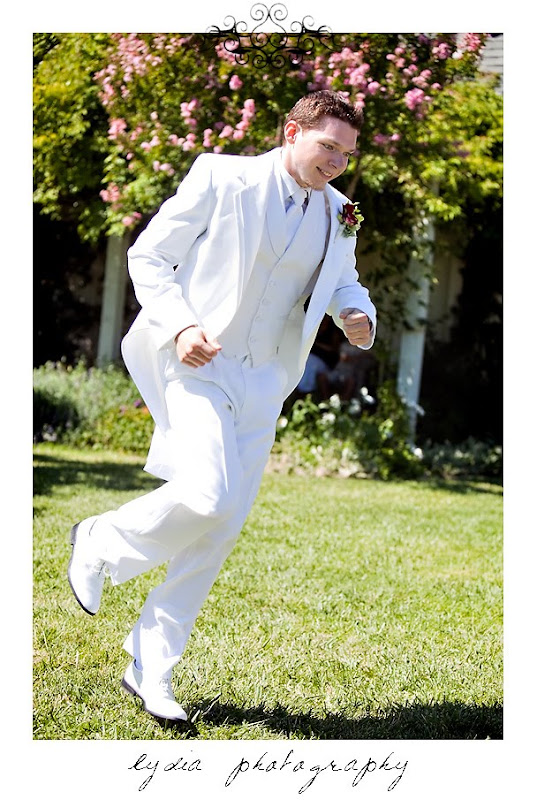 Jared dancing down the aisle during the wedding in Santa Rosa California