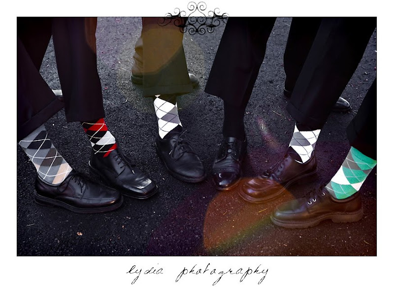Groomsmen wearing argyle socks for their picture in Shingletown California
