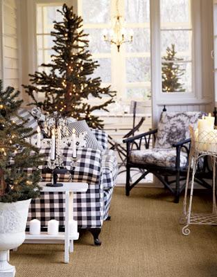 Enclosed Porch Living Room Black And White Decor Christmas Fall