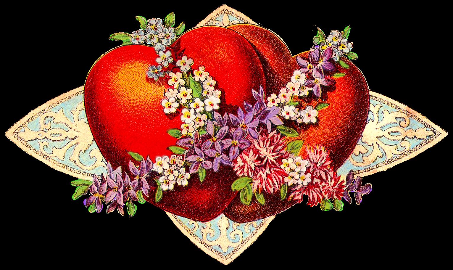 Free Vintage Valentine Hearts Clip Art Vintage