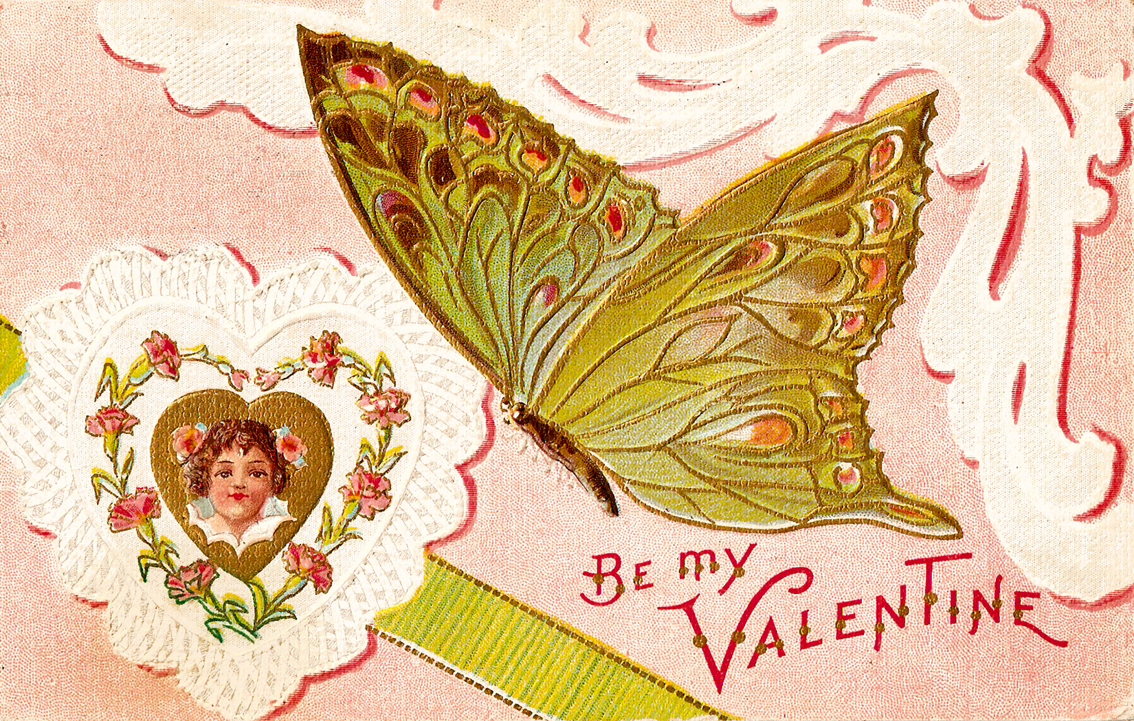 CatnipStudioCollage Free Vintage Clip Art Valentine Butterfly – Vintage Victorian Valentine Cards