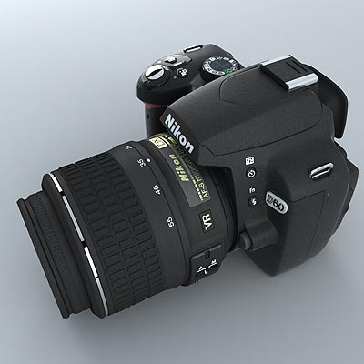 nikon d60 kit. 3d model of nikon d60 body and