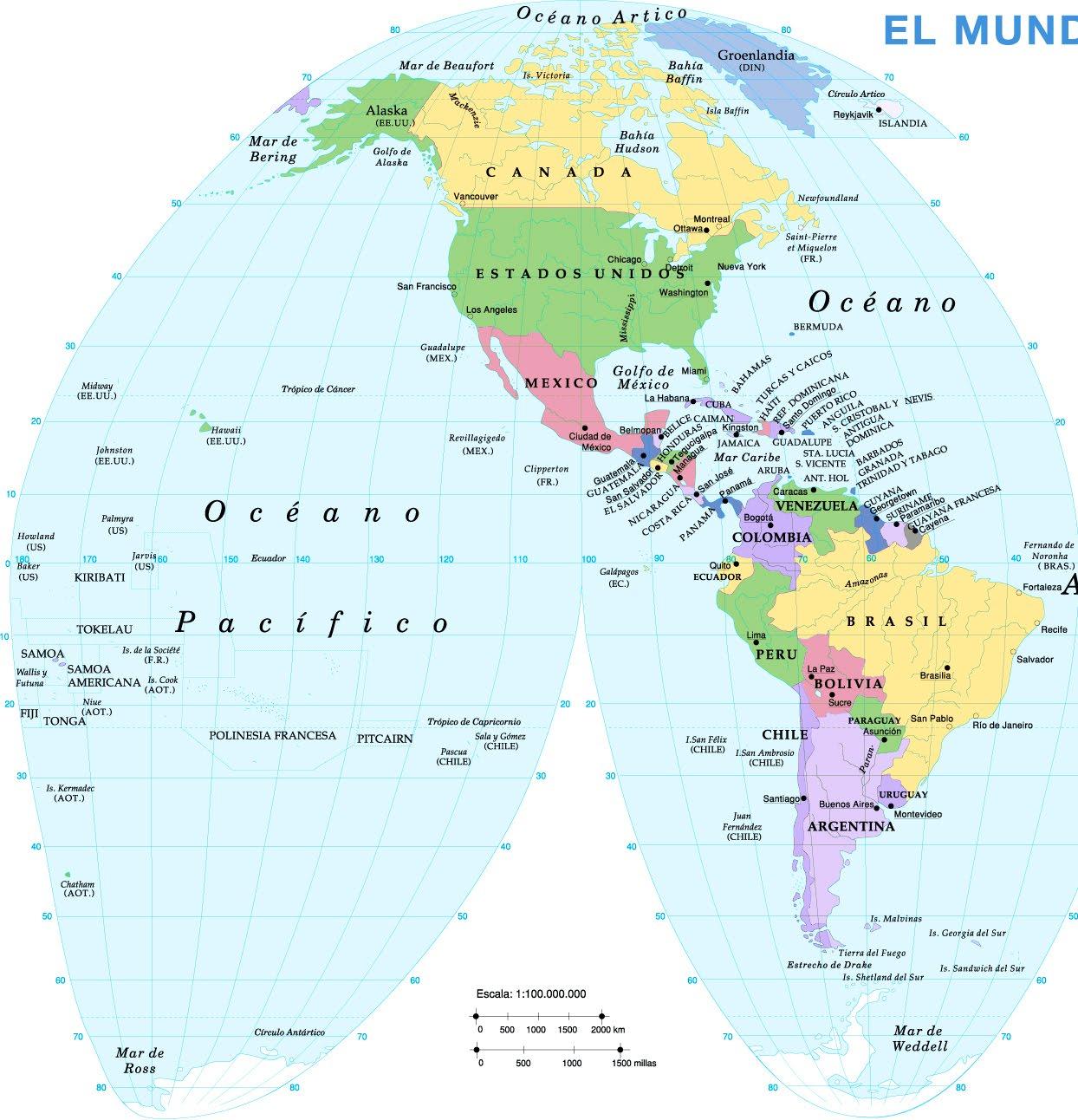 Mapa del continente americano con nombres y capitales imagui - Continente y contenido ...