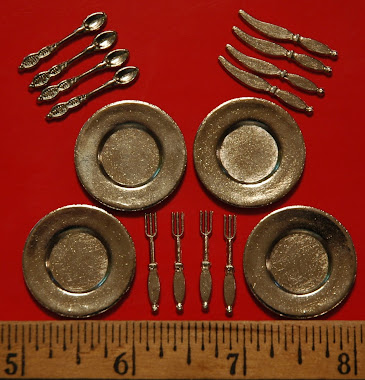 Miniature Silverware & Plates $5.99 per set. Silverware sold separate too $ 2.99 per set of 4