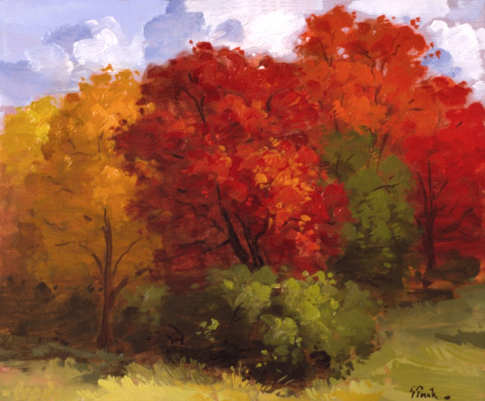The gallery for easy fall paintings for Autumn tree painting