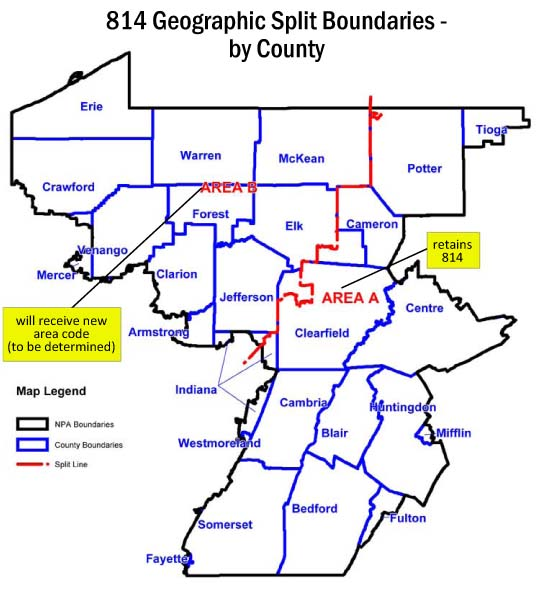 WDUQNews Area Code Split Map Approved - 814 area code